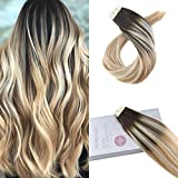 Moresoo Hair Extensions Tape in Real Human Hair 18 Inch Skin Weft Tape in Hair Extensions Color ##2 Brown Fading to Blonde #27 Mixed #61320pcs 50g Per Pack