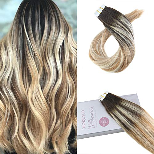 Moresoo 22inch Tape on Hair Extensions Human Hair 20pcs 50g Per Pack Color #2 Brown Fading to Blonde #27 Mixed #613 Balayage Ombre Hair Extensions Tape in