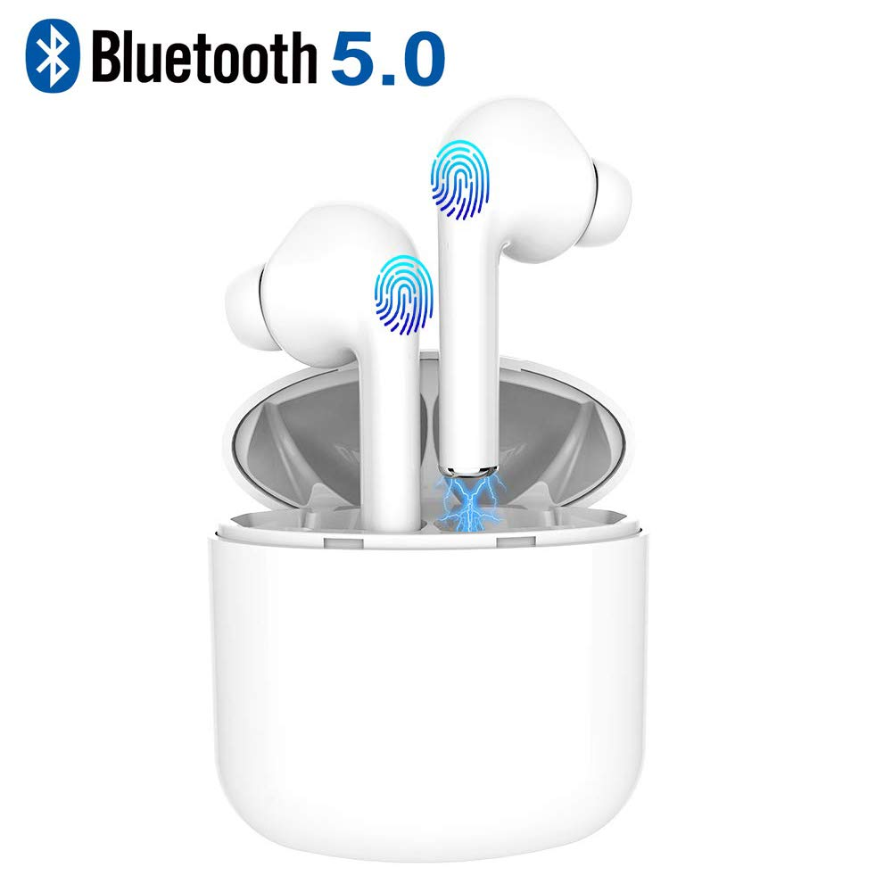 Wireless Bluetooth Earbuds, White Mini Waterproof Headset Hands-Free Calling Headset Sports Driving Headset with Microphone and Charging Box for 5 Hours of Game time Touch