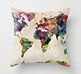 Decorative Pillow Cover - Lyn Cotton Linen Square Throw Pillow Case Decorative Cushion Cover Pillowcase for Sofa Map 18