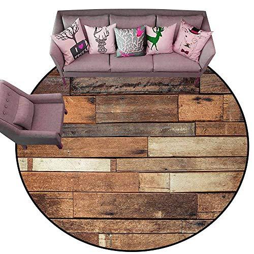 Floor Mat for Toilet Non Slip Wood Print,Rustic Floor Planks Digital Printed Grungy Look Farm House Country Style Walnut Oak Grain Image,Brown Diameter 72