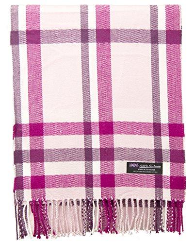 100% Cashmere Scarf Elegant Collection Made in Scotland Wool Buffalo Tartan Windowpane Check Plaid (Purple)
