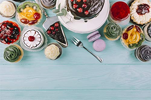 AOFOTO 5x3ft Wooden Wall Photography Backdrops Birthday Dinner Dessert Sweets Cake Baby Blue Wood Board Background for Photos Video Drape Wallpaper Photo Studio Props -