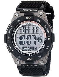 Men's 40/8330BLK Brown Accented Digital Chronograph Black Nylon Strap Watch