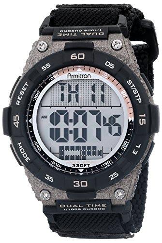 Armitron Sport Men's 40/8330BLK Brown Accented Digital Chronograph Black Nylon Strap Watch