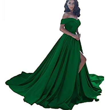 Off Shoulder Long Satin Prom Dresses 2018 Formal Evening Gowns (Green, 14)