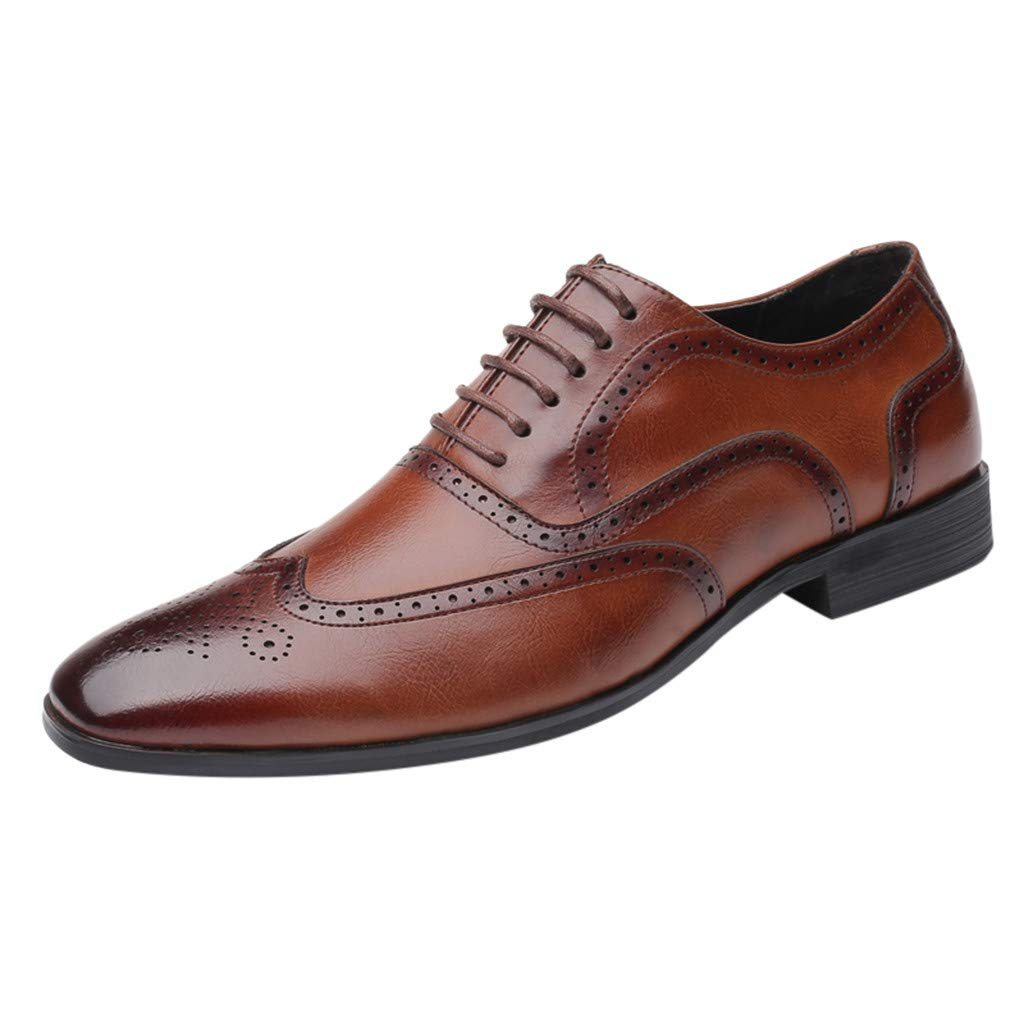 Corriee 2019 Most Wished Formal Shoes for Men Stylish Pointed Toe Oxford Leather Wedding Shoes Business Shoes Brown