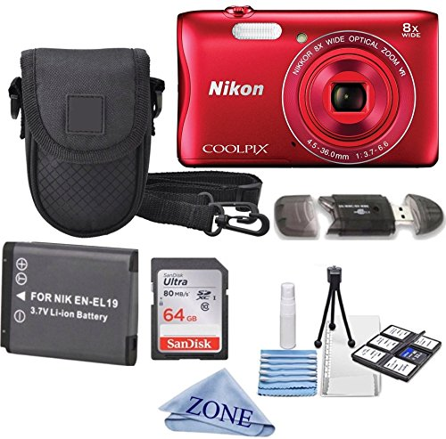 Nikon COOLPIX S3700 Wi- Fi enabled Digital Camera with 8x Optical Zoom + Extra Battery, 64GB Memory Card+ Accessory Zone cloth + Accessory Bundle (Red)