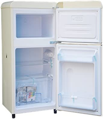 Bauer Haus Undercounter Double Door Retro Fridge Freezer Cream 80L A Energy