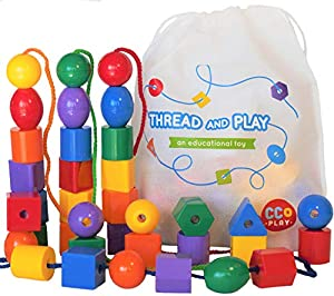 CC O PLAY Large Lacing Bead Set for Kids - 36 Jumbo Beads & 4 Threads for Toddlers - Montessori Educational Stringing Toy for Preschool Children - Bonus Bag & Ebook with Primary Resources