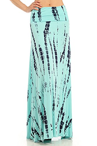 ColorMC Women's Bamboo Tie-Dye Maxi Skirt Large MintAqua