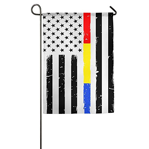 FLAGS-F8P Thin Red Blue Gold Line Flag Welcome House Yard Fl