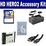 GoPro HD HERO2 Camcorder Accessory Kit includes: SDAHDBT001 Battery, SDM-1546 Charger, HDMI3FM AV & HDMI Cable, ZELCKSG Care & Cleaning, SD4/16GB Memory Card