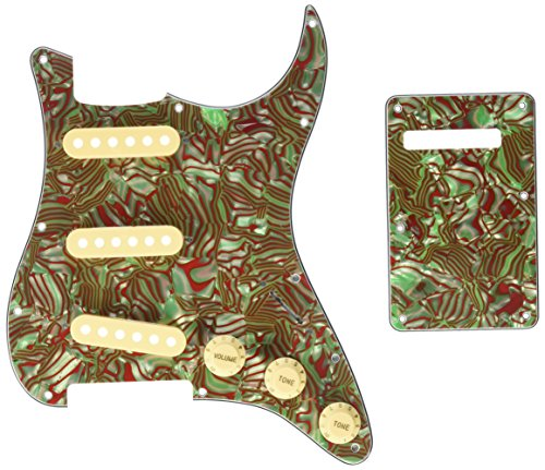 Kmise Z4705 Set Breen Shell Guitar Pickguard Back Plate Tremolo Cavity & Pickup Cover by Kmise (Image #8)