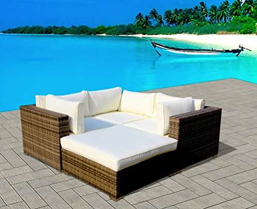 Outdoor Modern Patio Wicker Furniture Sofa Sectional 4pc Backyard Rattan Resin Couch Set (San Antonio Outdoor Furniture)