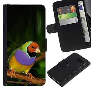 Be Good Phone Accessory // Caso del tirón Billetera de Cuero Titular de la tarjeta Carcasa Funda de Protección para Samsung Galaxy S6 SM-G920 // parrot tropical bird purple green jungle