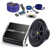 Kicker Car Audio Bundle 10C102D4 Sub + 41DXA250 Amplifier and SQ600H Wire Kit