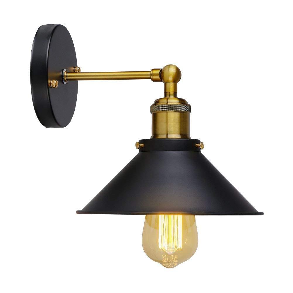 Coquimbo Applique Loft Modern Vintage Industrial Métal Placage Double Rustique Mur Sconce Lumière pour House Decor Sans Ampoule, Noir [Classe énergétique A+]