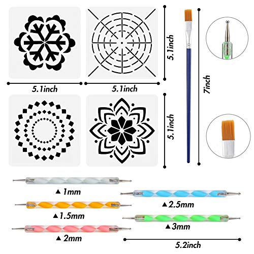 25PCS Mandala Dotting Tools Set, Pen Dotting Painting Tools Brushes Mandala Stencil Kit Ball Stylus with a Waterproof Storage Bag for Rocks Painting Nail Dotting Art Drawing DIY Coloring