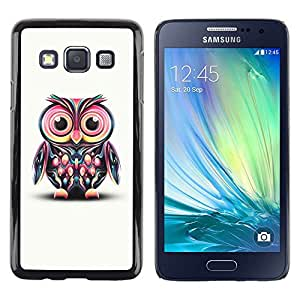 Impact Case Cover with Art Pattern Designs FOR Samsung Galaxy A3 Owl Pink Eyes Colorful Disco Bird Drawing Betty shop