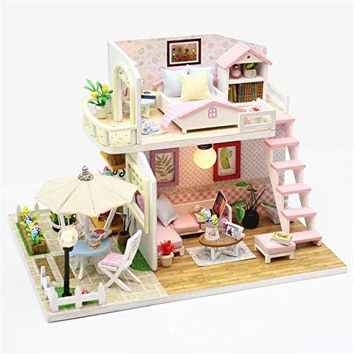 DIYミニチュアドールハウスキット DIY木製ミニチュアピンクヴィラドールハウス家具LEDキット子供のおもちゃのギフトDIYハウスドールハウスの3D 誕生日プレゼント (色 : ピンク, Size : One size)