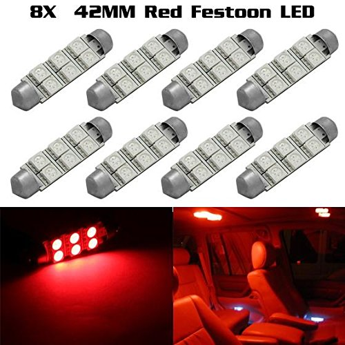 Pontiac Glove Box - Partsam 8X Red 42MM Festoon 6SMD LED Light Bulb Glove Box/Dome/Map 212-2 578 For 2009-2013 Ford Flex