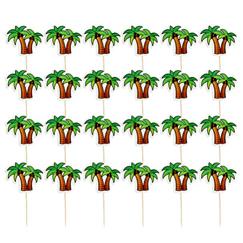 - Amosfun Coconut Tree Cake Topper Hawaii Theme Cake Toppers Coconut Palm Paper Cupcake Picks Luau Hawaii Birthday Party Decorations 24pcs