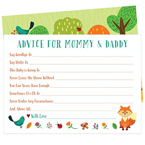50 Woodland Animal Advice and Prediction Cards for Baby Shower Games (5x7 Inch) by ZOLCO Prints