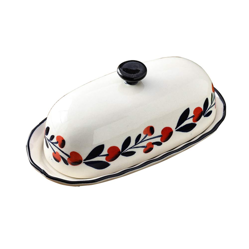 Lonovel Stoneware Butter Dish with Lid Porcelain Butter Keeper Vintage Floral Cover Great for Kitchen Dining Food Storage Snack Pre-dinner Cake Holder Easy Clean,Beige, 7.8 Inches (Red Cherry)