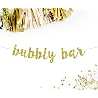 Bubbly Bar Cursive Party Banner | mimosa bar pop champagne brunch bridal shower bachelorette party drinks table bar bunting sign