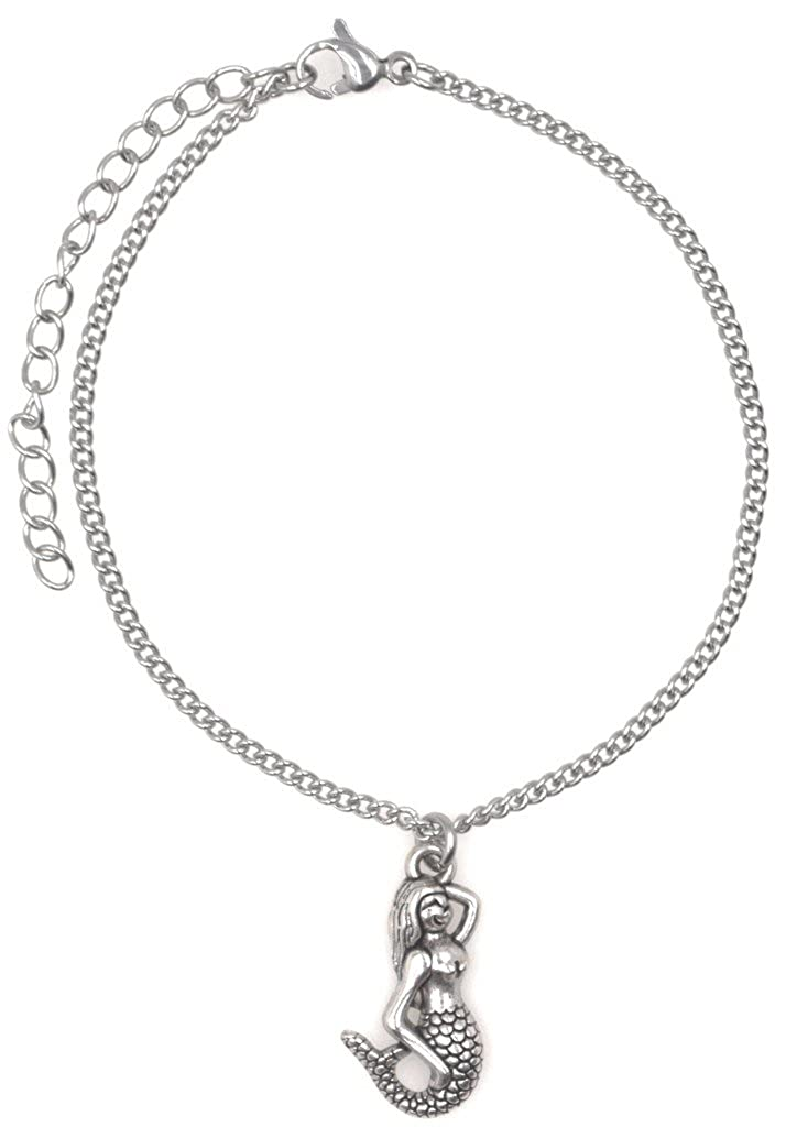 """9.5/"""" Stainless Steel Ankle Bracelet with Alloy Mermaid 50M It/'s All About You Jewelry US/_JWE/_B01LX5CDWT 7.5/"""" Its All About...You"""