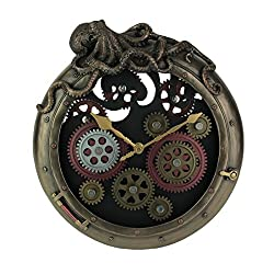 Veronese Design Steampunk Bronze Finish Octopus Porthole Wall Clock with Moving Gears