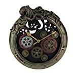 Veronese Design Steampunk Bronze Finish Octopus Porthole Wall Clock with Moving Gears 6