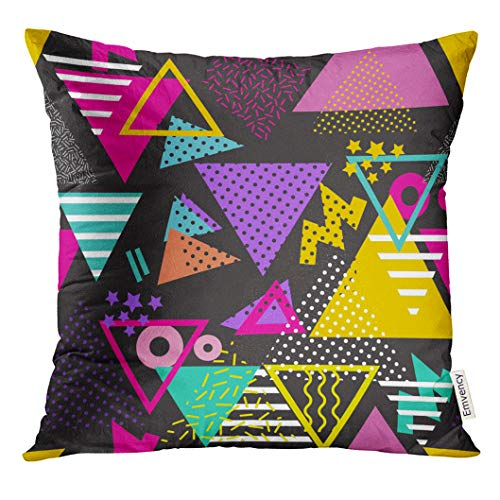 (VANMI Throw Pillow Cover Colorful 90S Geometric Pattern in Retro 80S Style Pop Triangles Ideal Design and File Graphic 1980S Decorative Pillow Case Home Decor Square 16x16 Inches Pillowcase)