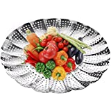"""Premium Vegetable Steamer Basket ,5.5"""" to 9.3"""", Insert for Instant Pot, Pans, Crock Pots & more + Safety Tool - 100% Stainless Steel - Instant Pot and Pressure Cooker Accessories"""