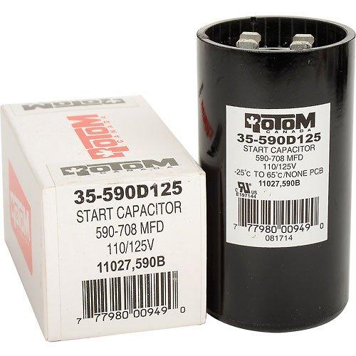 Rotom 590B, 590-708MFD, 110/125V, Start Capacitor, Round