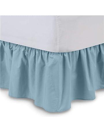 Chengstore Falda de Cama de Color Puro sin Superficie de Cama, Faldas de Cama elásticas