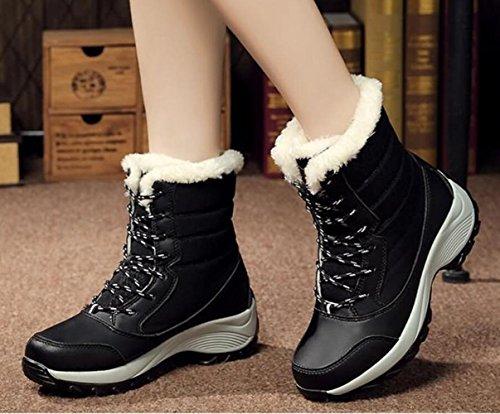 High bottes Leg Bottes Bottes Cachemire femmes chaussures chaud pour neige 40 Plus Lace hiver plate Up de forme SXX6Igq