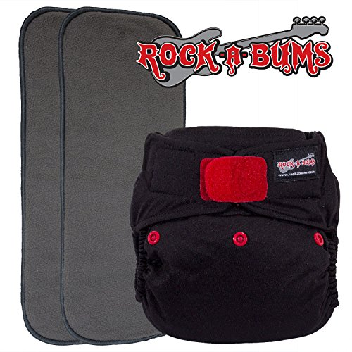 Black Suedecloth - Rock-a-Bums 5-in-1 Cloth Diaper Pack with Hook & Loop, Black