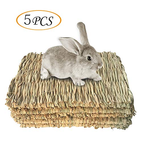 Grass Mat Woven Bed Mat for Small Animal Bunny Bedding Nest Chew Toy Bed Play Toy for Guinea Pig...
