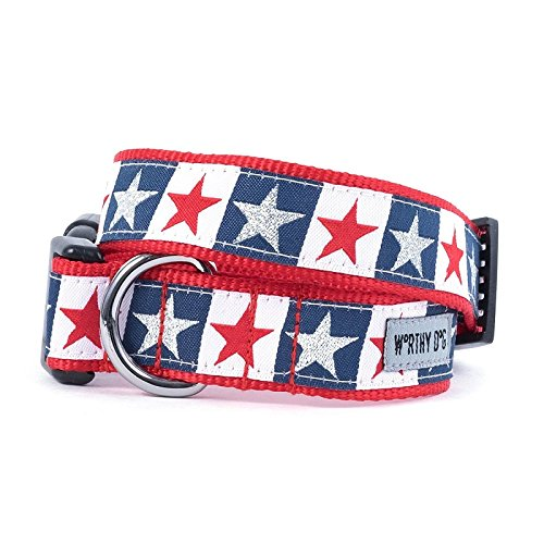 The Worthy Dog   Stars and Stripes   Adjustable Designer Pet Dog Collar , Red/White/Blue, L