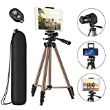 Tripod for iPad iPhone Camera,50-inch Aluminum Alloy Tripod + Wireless Remote + 2 in 1 Mount Holder for Smartphone (Width 2.2-3.3