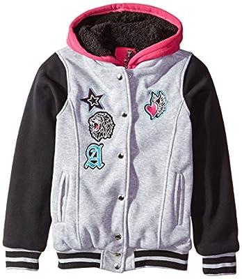 Hello Gorgeous Little Girls' Sherpa Lined Fleece Varsity Jacket
