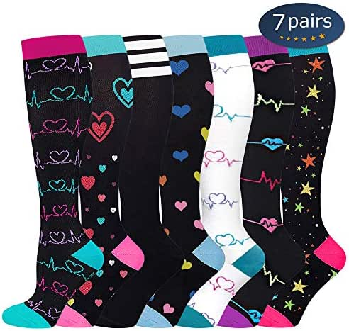 Ritta Compression Socks (2/3/4/7 Pairs),15-20 mmHg Best Athletic and Medical for Men and Women,Socks for Running, Flight, Travel, Athletic, Edema,Pregnancy,Relieve Pain