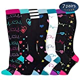 Ritta Compression Socks, Compression Sock Women & Men - 15-20 mmHg is Best Graduated Athletic & Medical for Running, Athletic Sports, Crossfit, Flight Travel (7 Pairs Assorted-1, L/XL)