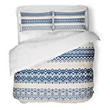 Emvency 3 Piece Duvet Cover Set Brushed Microfiber Fabric Breathable Tie Dye Brushes and Lace Ethnic Necklace Ikat Shibori with Stripes Bedding Set with 2 Pillow Covers Twin Size