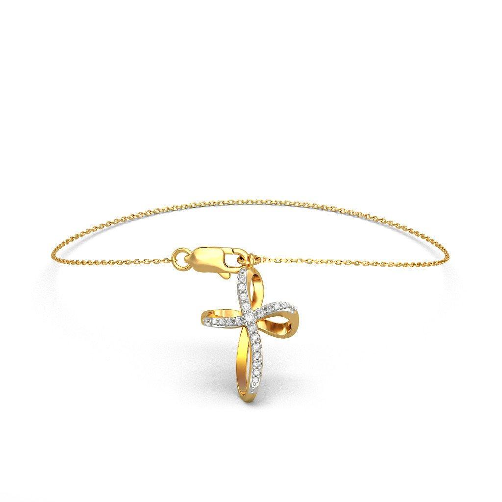 identification-bracelets Size 0.21 cttw Round-Cut-Diamond IJ| SI 18K Yellow Gold 7 inches