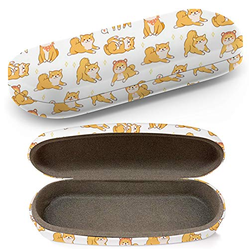 Hard Shell Glasses Protective Case With Cleaning Cloth Eyeglasses Sunglasses - Kawaii Shiba Inu Dogs Various