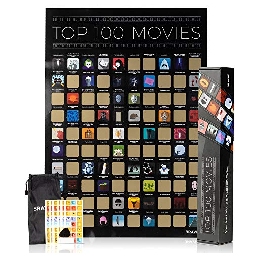 - Movie Scratch Off Poster with Easy Off Gold Foil - Instantly Reveals Your Top 100 Movie Icons - 17 x 24 Poster in Beautiful Gift Box