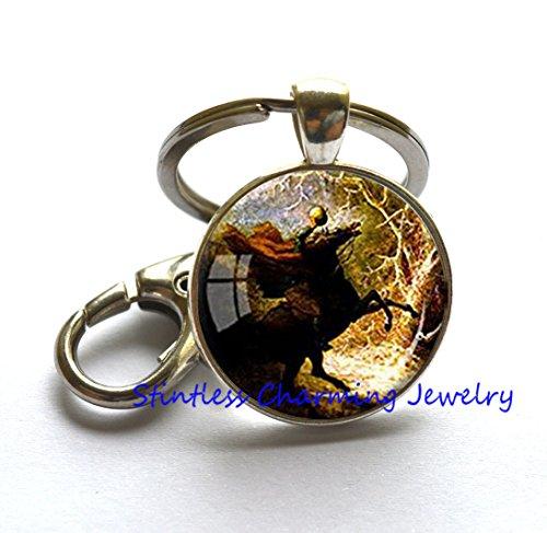 Halloween Jewelry Headless Horseman Key Ring Halloween Keychain Horse Lover Gift Halloween Costume Keychain